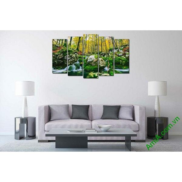 Tranh phong cảnh cây rừng trang trí phòng khách hiện đại-00