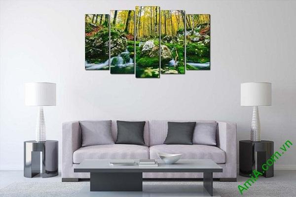 Tranh phong cảnh cây rừng trang trí phòng khách hiện đại-01