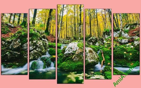 Tranh phong cảnh cây rừng trang trí phòng khách hiện đại