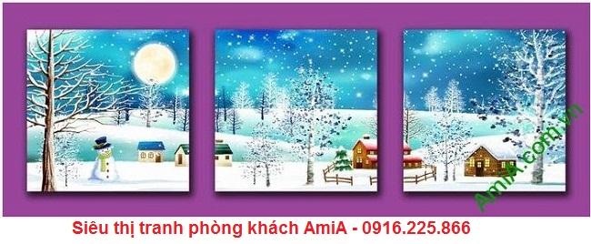 Tranh phong cảnh khổ nhỏ tuyết rơi mùa đông