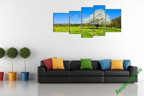 Tranh phong cảnh mùa xuân trang trí phòng khách sang trọng-01
