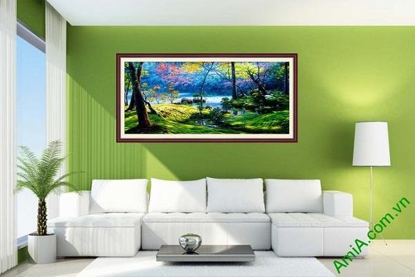 Tranh phong cảnh rừng già trang trí phòng khách ấn tượng-02
