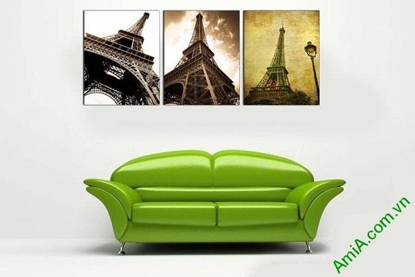 Tranh tháp Eiffel trang trí phòng khách hiện đại AmiA 696-01