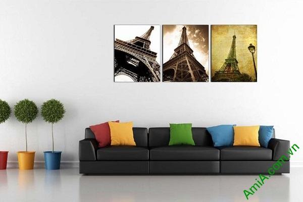 Tranh tháp Eiffel trang trí phòng khách hiện đại AmiA 696-02