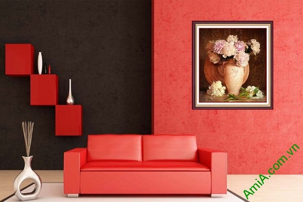 Tranh trang trí bình hoa mẫu đơn thiết kế vintage hiện đại-01