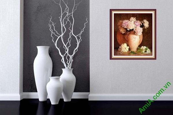 Tranh trang trí bình hoa mẫu đơn thiết kế vintage hiện đại-02