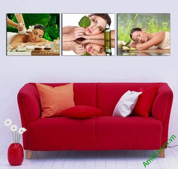 Tranh trang trí chăm sóc spa ghép bộ hiện đại AmiA 661-01