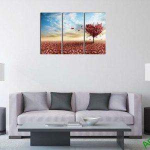 Tranh trang trí ghép bộ phòng khách hiện đại cây tình yêu-00