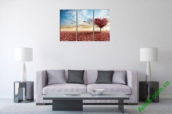 Tranh trang trí ghép bộ phòng khách hiện đại cây tình yêu-01