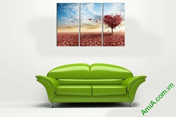 Tranh trang trí ghép bộ phòng khách hiện đại cây tình yêu-02