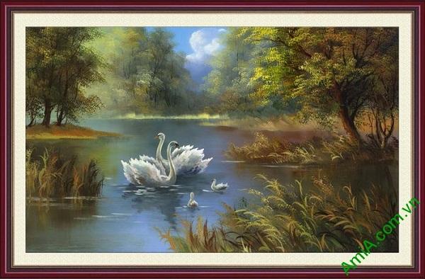Tranh trang trí in giả sơn dầu hồ chim thiên nga AmiA 677
