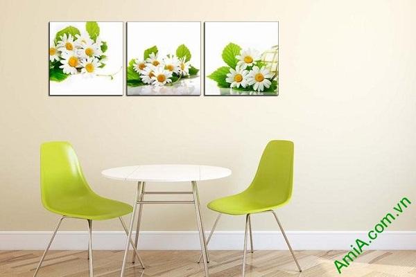 Tranh trang trí hoa cúc cho phòng khách, phòng ăn tươi mới-01