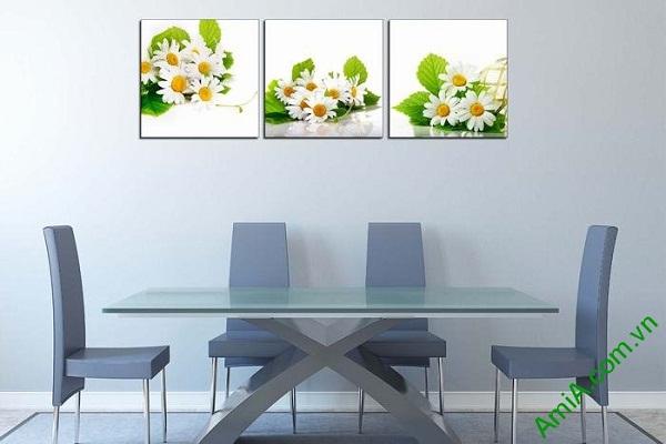 Tranh trang trí hoa cúc cho phòng khách, phòng ăn tươi mới-02