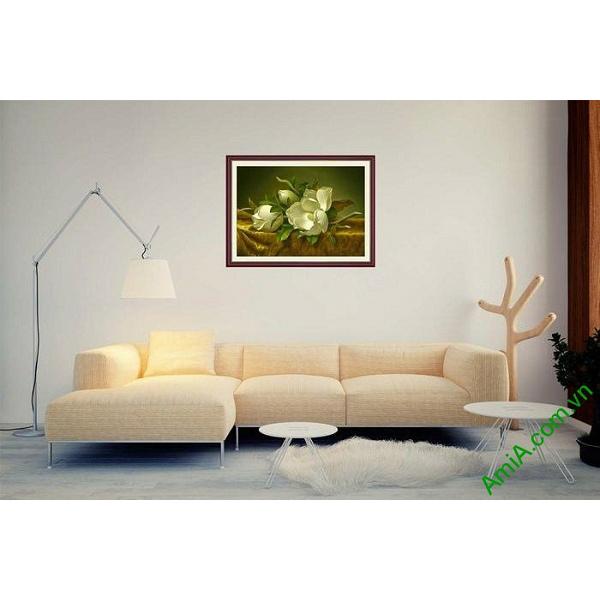 Tranh trang trí in giả sơn dầu hoa mộc lan trắng AmiA 699-00