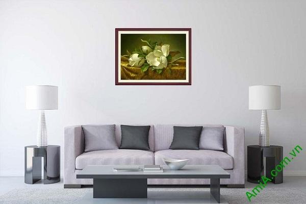Tranh trang trí in giả sơn dầu hoa mộc lan trắng AmiA 699-01