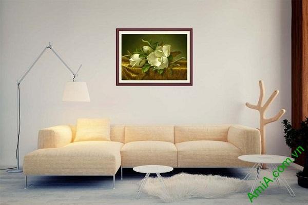 Tranh trang trí in giả sơn dầu hoa mộc lan trắng AmiA 699-02
