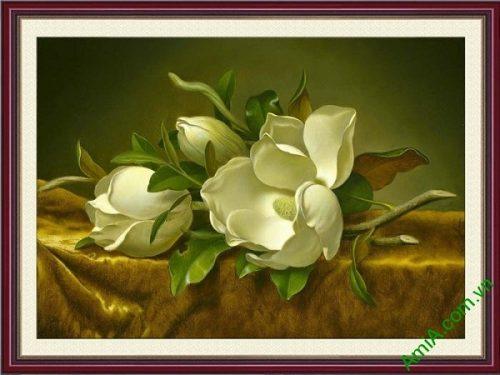 Tranh trang trí in giả sơn dầu hoa mộc lan trắng AmiA 699