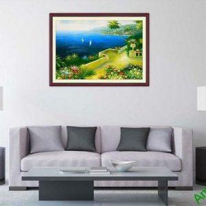Tranh trang trí một tấm khổ nhỏ phòng khách biển xanh tĩnh lặng-00