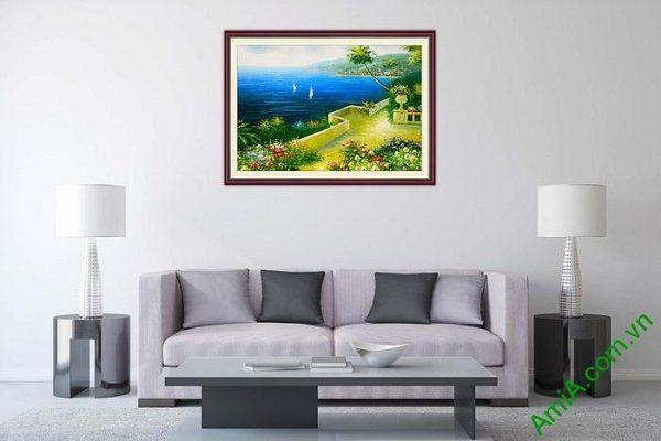 Tranh trang trí một tấm khổ nhỏ phòng khách biển xanh tĩnh lặng-02