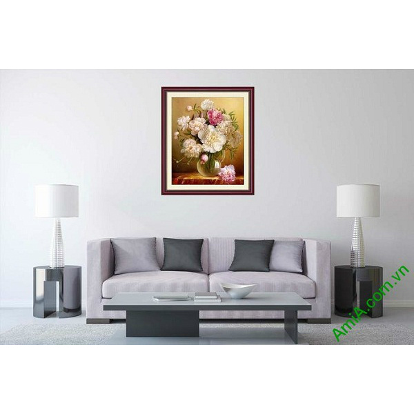 Tranh trang trí nghệ thuật bình hoa mẫu đơn AmiA 700-00