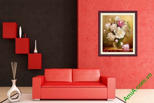 Tranh trang trí nghệ thuật bình hoa mẫu đơn AmiA 700-02