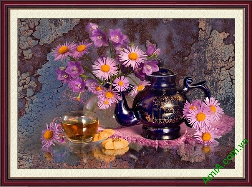 Tranh trang trí nghệ thuật bình hoa thưởng trà sang trọng