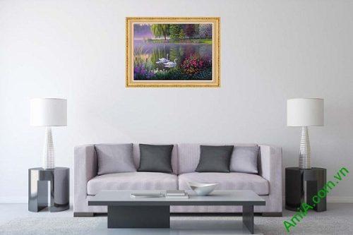 Tranh trang trí nghệ thuật in giả sơn dầu gia đình thiên nga-01