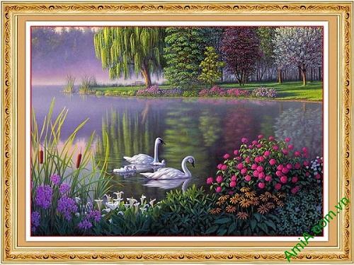 Tranh trang trí nghệ thuật in giả sơn dầu gia đình thiên nga
