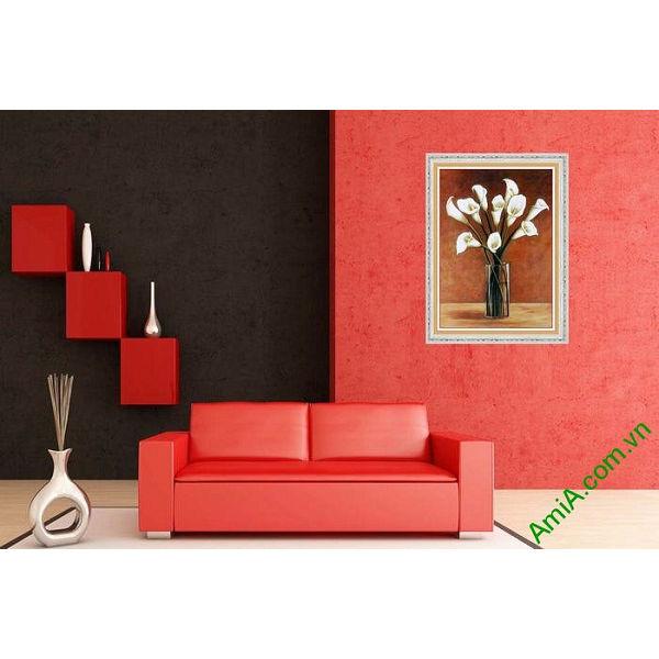 Tranh trang trí nghệ thuật phòng khách bình hoa Zum-00