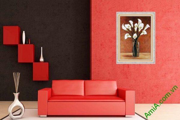 Tranh trang trí nghệ thuật phòng khách bình hoa Zum-01
