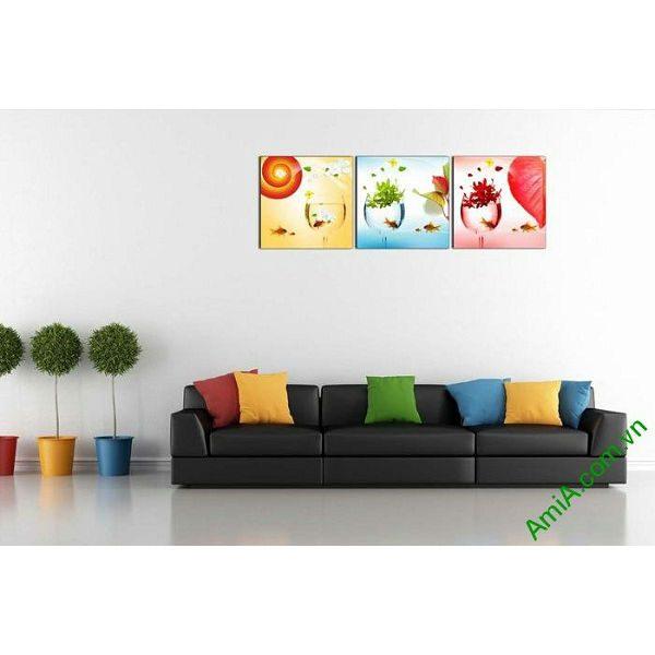 Tranh trang trí nghệ thuật phòng khách hiện đại cá vàng-00