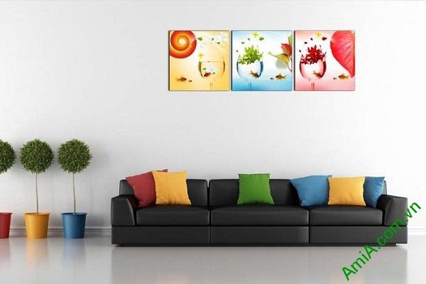 Tranh trang trí nghệ thuật phòng khách hiện đại cá vàng-01