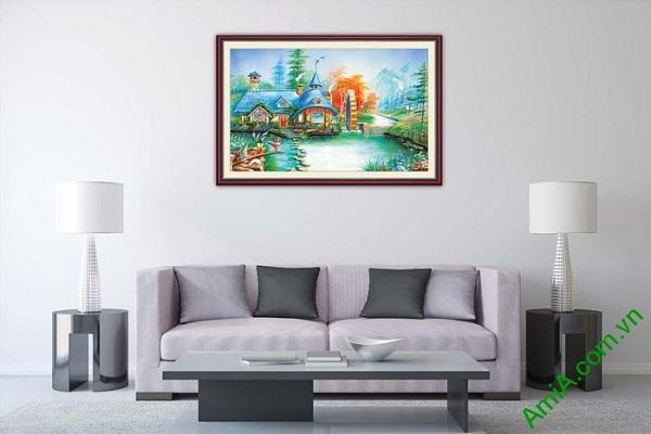 Tranh trang trí nghệ thuật phòng khách ngôi nhà yên bình-01