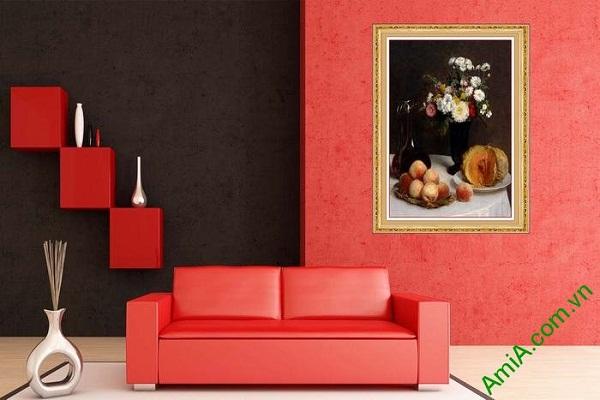 Tranh trang trí nghệ thuật tĩnh vật hoa quả bàn ăn AmiA 612-01