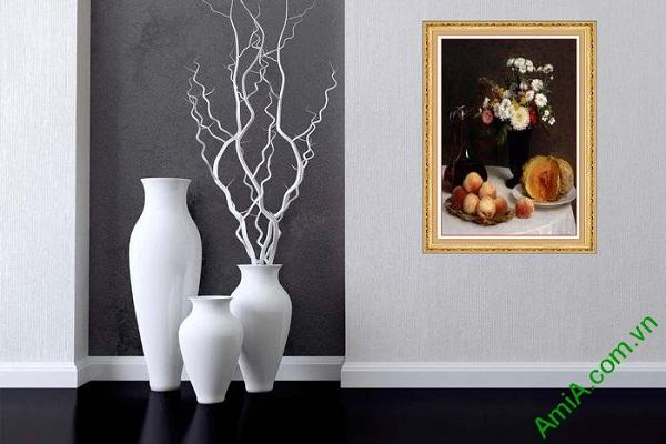 Tranh trang trí nghệ thuật tĩnh vật hoa quả bàn ăn AmiA 612-02