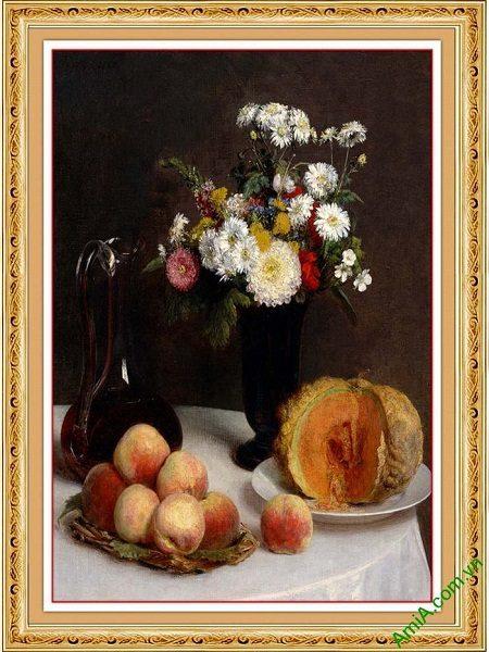Tranh trang trí nghệ thuật tĩnh vật hoa quả bàn ăn AmiA 612