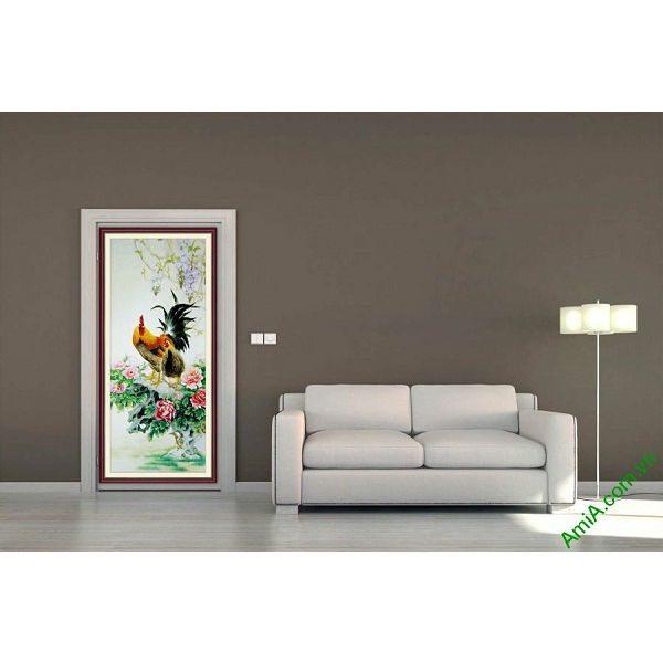 Tranh trang trí ốp dọc gà trống hoa mẫu đơn AmiA 673-00