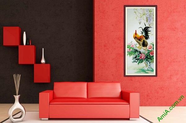 Tranh trang trí ốp dọc gà trống hoa mẫu đơn AmiA 673-01