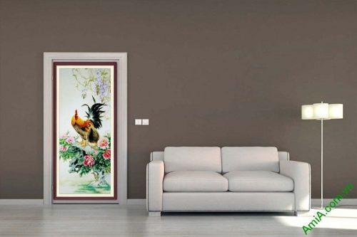 Tranh trang trí ốp dọc gà trống hoa mẫu đơn AmiA 673-02