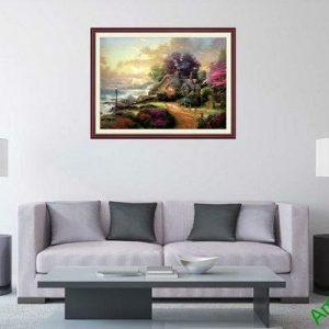 Tranh trang trí phong cảnh bình minh và ngôi nhà AmiA 650-00