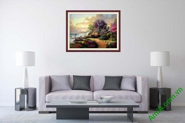 Tranh trang trí phong cảnh bình minh và ngôi nhà AmiA 650-01