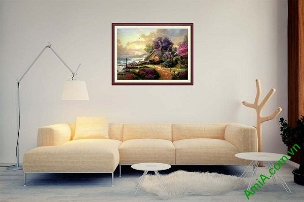 Tranh trang trí phong cảnh bình minh và ngôi nhà AmiA 650-02