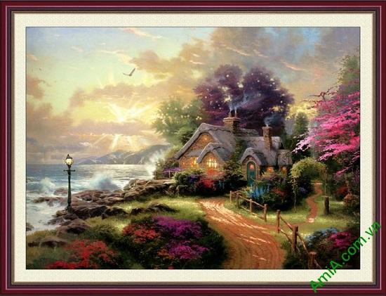 Tranh trang trí phong cảnh bình minh và ngôi nhà AmiA 650