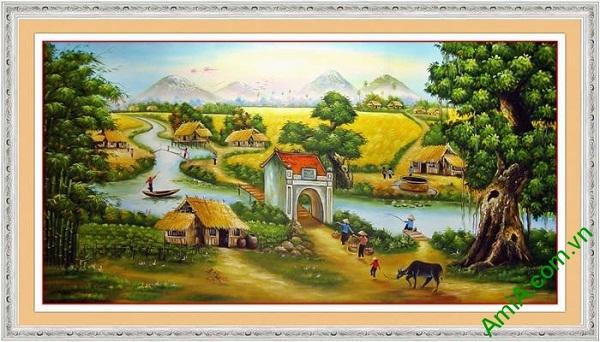 Hình ảnh tranh trang trí phong cảnh làng quê Việt Nam