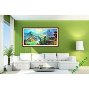 Tranh trang trí phong cảnh khổ lớn sơn thủy AmiA 698-00