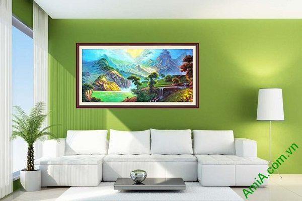 Tranh trang trí phong cảnh khổ lớn sơn thủy AmiA 698-01