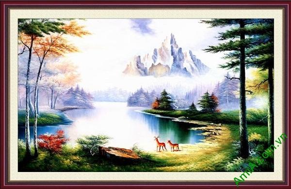 Tranh trang trí phong cảnh nghệ thuật hồ nước tĩnh lặng