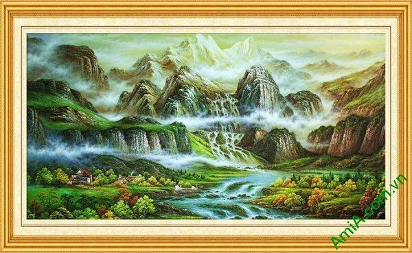 Tranh trang trí phong cảnh nghệ thuật núi non trùng đẹp