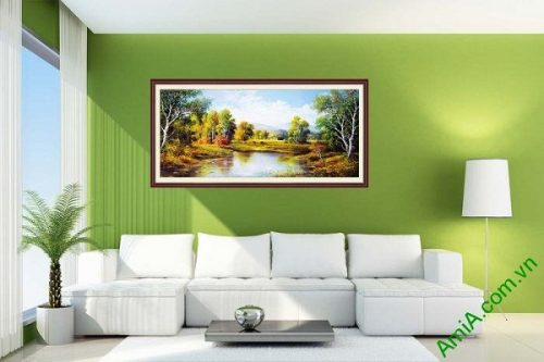 Tranh trang trí phong cảnh phòng khách nghệ thuật đôi bờ-01
