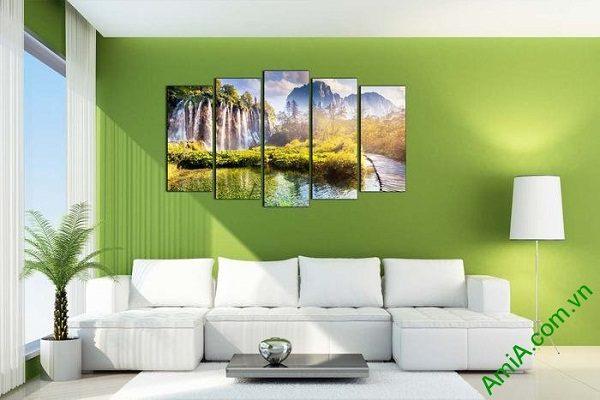 Tranh trang trí phong cảnh thiên nhiên thác nước hùng vĩ-01